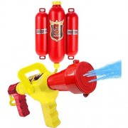FHYDYZ Juguete de pulverización de agua para niños Mochila de bombero Pistola de agua Juguete de pulverización de agua con boquilla y tanque de agua Juego de juguete de pulverización de agua Jardín de niños al aire libre Juguetes de playa