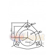 3 Bolt Stainless Steel Flange- 55mm Bore