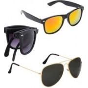 Elligator Aviator, Wayfarer Sunglasses(Yellow, Black, Black)