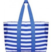 Divinext Striped Cotton Heavy Shoulder Tote Bag for Woman|Blue Striped Waterproof Shoulder Bag(Blue, 20 L)