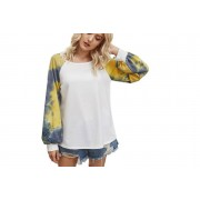 AC Electronic Limited- Domo Secret £8.99 instead of £25.99 for a ladies tie dye balloon sleeve top in White, Yellow, Grey or Khaki in UK sizes 10-16 from Domo Secret – save 65%