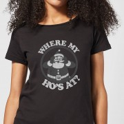 The Christmas Collection Camiseta Navidad Papá Noel Where My Ho's At? - Mujer - Negro - S - Negro