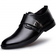 Zapatos Hombre Para Vestir Formal O Boda De Ecocuero Y Velcro - Negro