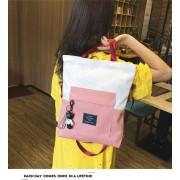 Canvas grote capaciteit Single-schoudertas vrouwen tas eenvoudige handtas Student Tote tas (roze)