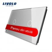 Panou intrerupator simplu+simplu cu touch Livolo din sticla, gri