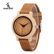BOBO BIRD V-A10 Unique Vogue Womens Bamboo Wooden Watch Quartz Outdoor Sport Watches With Genuine Leather Strap Montre Femme