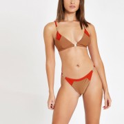 River Island Womens Light Brown blocked triangle bikini top (16)