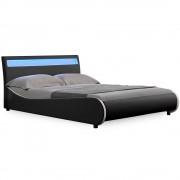 Corium® Moderní manželská postel HTB - 1042 - koženka - s LED podsvietením - 180x200cm (černá)