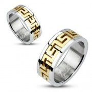 9 mm - Arany és ezüst színű, görög mintás nemesacél gyűrű ékszer-13