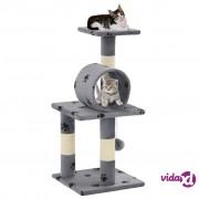 vidaXL Penjalica za mačke sa stupovima za grebanje od sisala 65 cm siva s uzorkom šapa