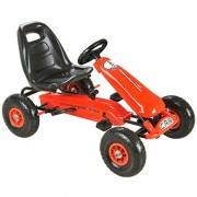 Kart cu pedale pentru copii, PK2 rosu, cu roti gonflabile din cauciuc