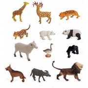 Nawani 12 pcs Wild and Farm Animal Sets for Kids Medium Size (Animals Color May Vary Pack to Pack)