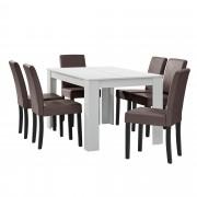 [en.casa]® Étkezőasztal 140 x 90 cm 6 műbőr étkezőszék design konyhai asztal székkel Nora fehér-barna Garnitúra