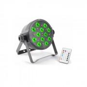 Faretto FlatPAR 12x 3W Tri-color LED DMX IR Telecomando Incluso