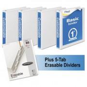 "Economy Round-Ring View Binder Plus Pack, 1"" Cap, White, 4/pack"