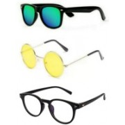 SO SHADES OF STYLE Round, Wayfarer, Retro Square Sunglasses(Green, Yellow, Clear)