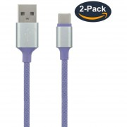 Louiwill Paquete De 2 Cables Tipo USB C, Tejido KOBWA USB C A USB A 2.0 (3.3 Pies / 1M) Cable De Carga Rápido Trenzado De Nylon Para Samsung Galaxy S8 S8 Plus, Google Pixel, LG G6 V5, Nexus 5x 6p, Nueva MacBook