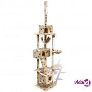 vidaXL Penjalica za mačke sa 3 kućice, 220-240 cm,bež