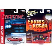 Munsters Koach Car George Barris Hobby Exclusive Model 2017 & Auto World Christine 1958 Plymouth Fury Blood Red Stephen King Movie Creepy Set Limited Edition 2-Pack Johnny Lightning