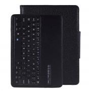Wireless Bluetooth Keyboard Litchi Skin Leather Smart Case for Samsung Galaxy Tab S6 T860 T865 - Black