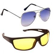 Magjons Fashion Combo Of Blue Aviator And Night Driving Sunglasses