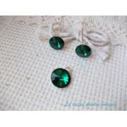 Set cercei şi pandant din argint cu cristale Swarovski rivoli Emerald