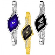 Varni Retail Leaf Blue And Black Dial With Silver And Golden Chain 3 Combo For Gilrs
