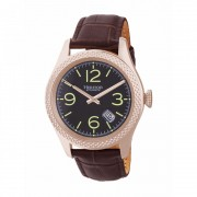 Heritor Automatic Barnes Leather-Band Watch w/Date - Rose Gold/Brown HERHR7107