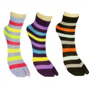 Nandini Designer 3 Pairs Women Striped Multi color Ankle Length Thin Cotton Thumb Socks Ladies Socks