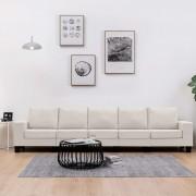 vidaXL 5-местен диван, кремав, текстил