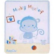 Детско одеяло Babyono 1409/02, Синя маймуна, 80 х 100, Сатен и плюш, 0330002