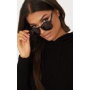 PrettyLittleThing Lunettes de soleil noires à verres ronds minimalistes, Noir - One Size