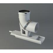 Codo soporte Ø80 mm FIG biflujo, simple