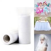 Fashion Tulle Roll 20D Polyester Wedding Birthday Decoration Decorative Crafts Supplies Size: 160cm x 25cm(White)