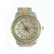 Copper Steel Belt Analog Diamond Studded Da Vinci White Round Dial Women's Watch