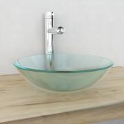 vidaXL Мивка от закалено матирано стъкло, 42 см