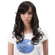 Sellers Destination Long Wavy Black Wig Human Hair Full Head Hairpiece with Fringe(size 20 Dark brown)