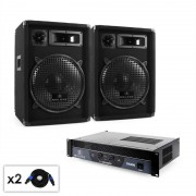 Electronic Star Malone Beat - Set PA 2.0 Amplificador, altavoces & cableado 800 W (PL-213-21665)