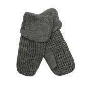 Emi Ross dámské pletené palčáky s kožíškem tmavě šedá