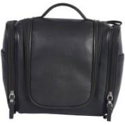 Leatherman Fashion Genuine leather black toilet kit Travel Toiletry Kit(Black)
