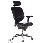 Hjh Silla ergonómica ENJOY ajustable 100%, piel color negro