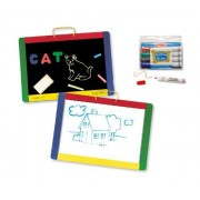 3 Item Bundle: Melissa & Doug 145 Magnetic Double Sided Chalk & Dry Erase Board With Letters & Numbers, 4122 Dry Erase Markers + Coloring Activity Book