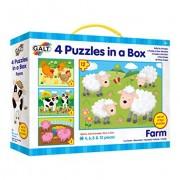 Cutia cu 4 puzzle-uri Animale de la ferma