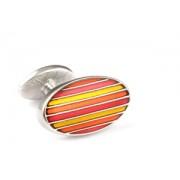 Mousie Bean Enamelled Cufflinks Oval Stripes 063 Tonal Orange