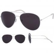 Geen Pilotenbril wit met zwarte glazen voor volwassenen