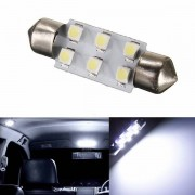 Meco White 39MM 6smd 1210 Festoon Dome Map Interior LED Light Lamp Roof Bulb