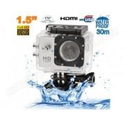 YONIS Caméra sport étanche 30m caméra d'action Full HD 1080p 12MP Argent