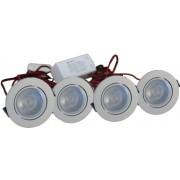 LED Set van 4 Inbouwspot - 4W - Chroom