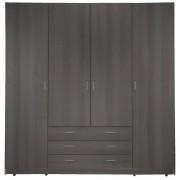 Kleerkast Sprint 4-deurs - grijs eiken - 200x198x51 cm - Leen Bakker