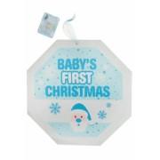 Placuta decorativa bleu cu sclipici Baby's first Christmas